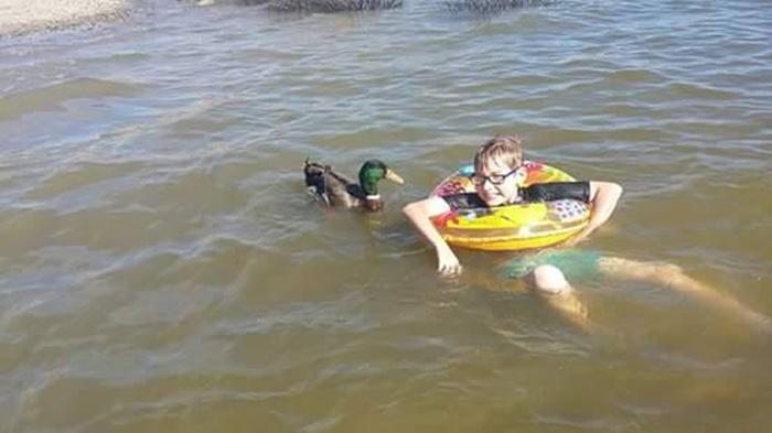 Jonny y Nibbles nadando