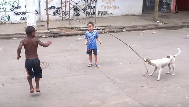 perro juega con niños a saltar la cuerda