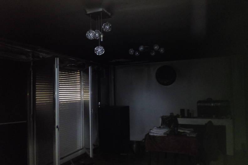 Salón incendiado