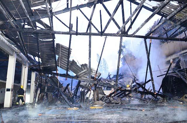 Bodega incendiada en Rivadavia, Argentina