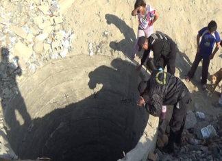 Agentes de Seguridad rescatan a un perro que cayo a un pozo