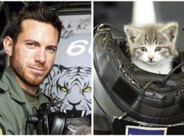 Piloto de la armada britanica encuentra a un gatito oculto en el parachoques de su auto