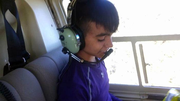 Juan transportado en helicóptero