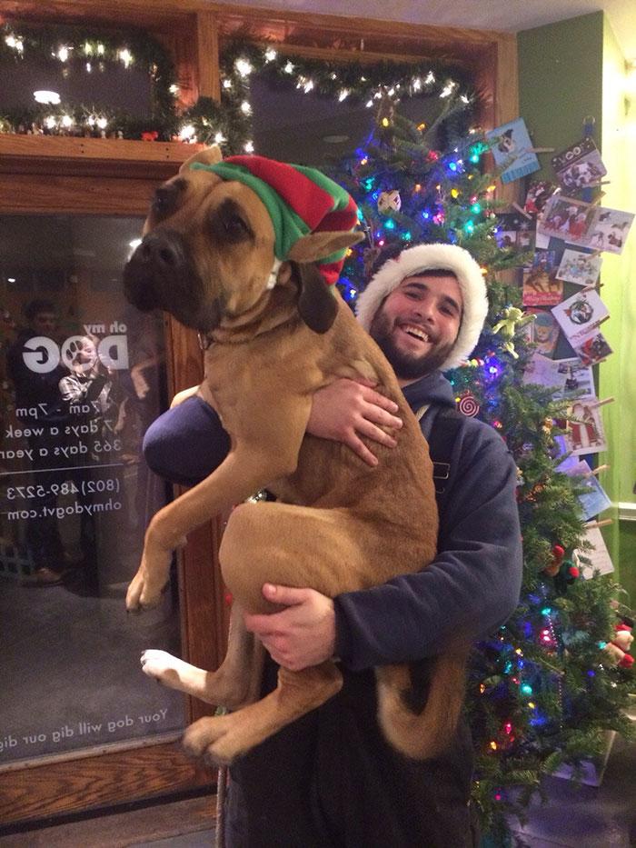 Perro adoptado por su cuidador