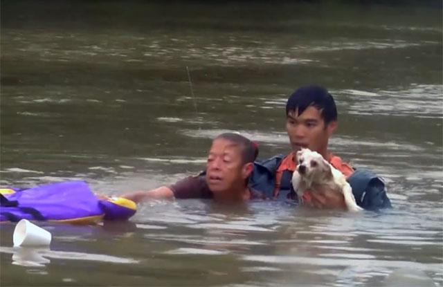 Hombre rescata a una mujer y su perro a punto de ahogarse