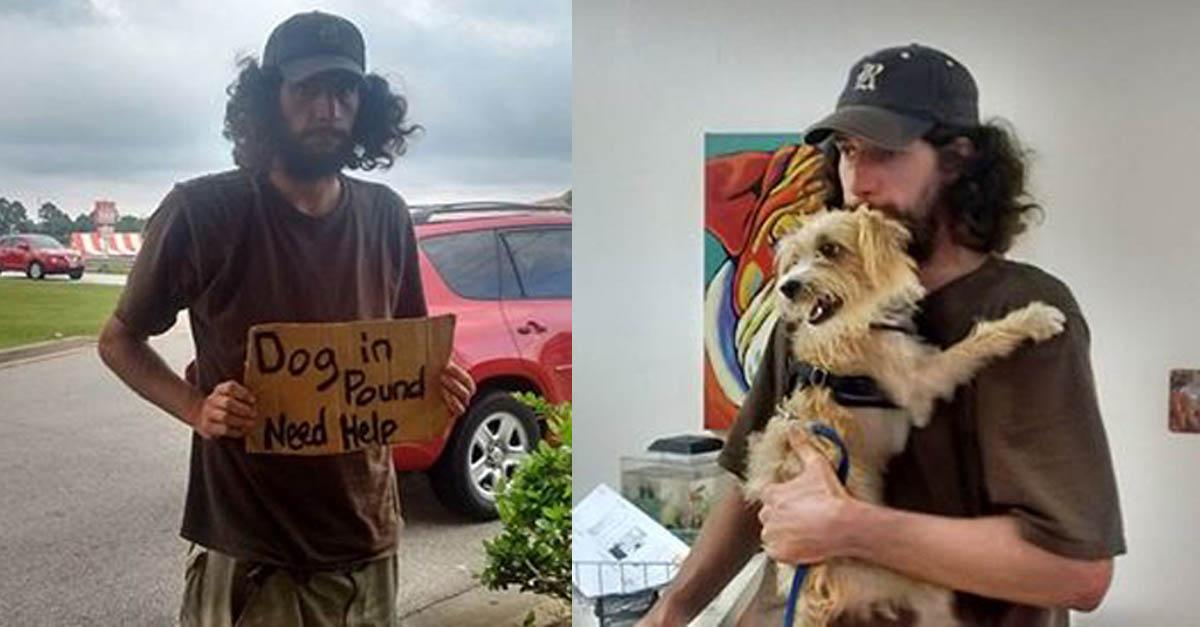 Este hombre sin hogar demostró un gran amor e interés por recuperar a su perro que había sido retenido por las autoridades