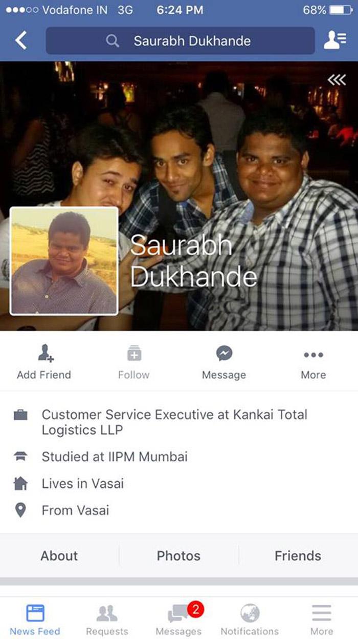 Perfil de facebook de saurabh Dukhande