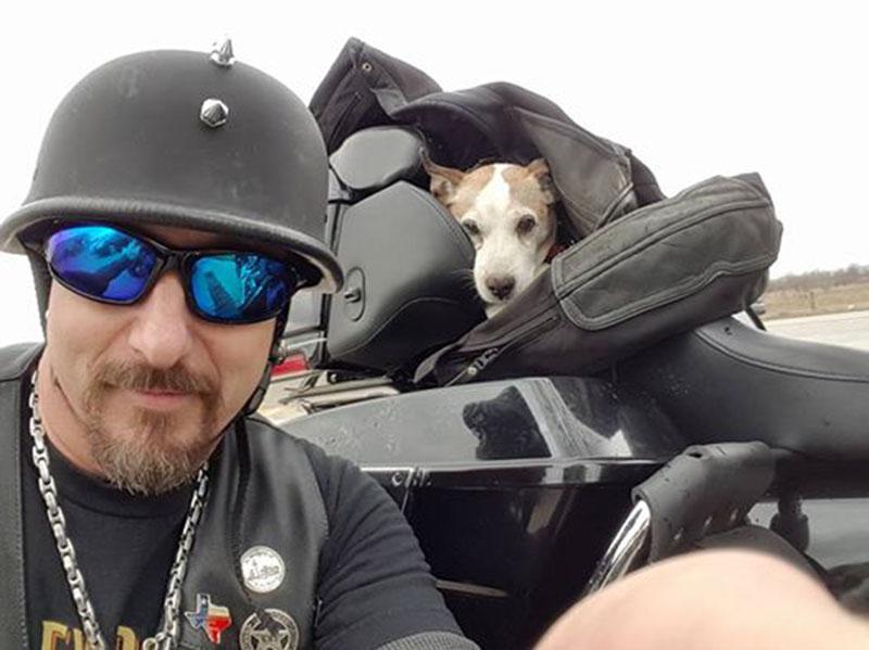 Hombre en motocicleta rescata a un perro