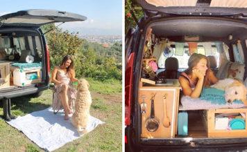 Mujer viaja con su perro en una van
