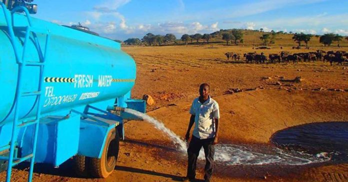 Hombre ayuda a los animales salvajes llevándoles agua durante la sequía