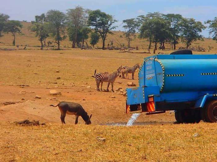 Patrick Kilonzo Mwalua transporta agua en un camión