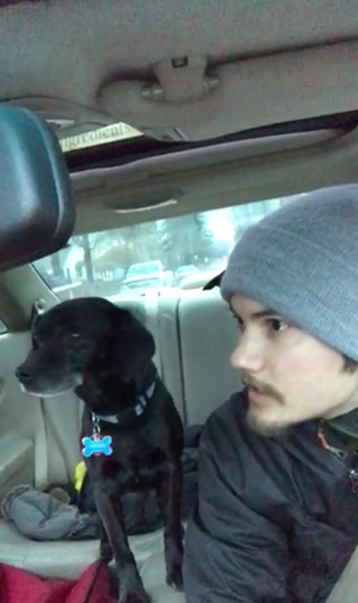 Este repartidor de pizza ayudó a un perro extraviado