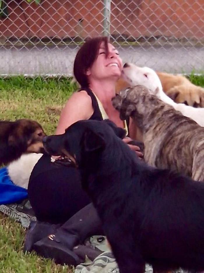 Battle y sus perros rescatados