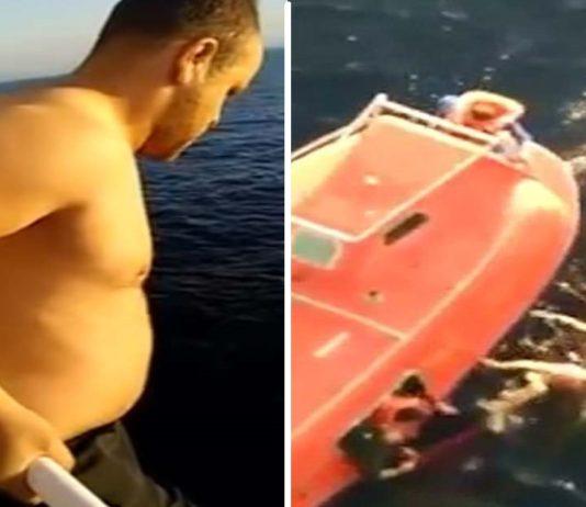 Marinero salta de un buque de carga para salvar a una ballena atrapada