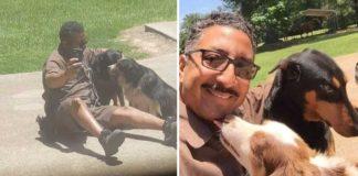 Conductor de UPS fue filmado tomándose selfies con los perros de su ruta