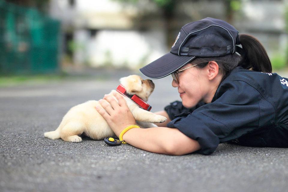 Policía y cachorro
