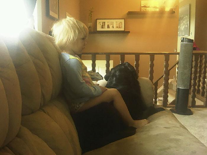 Perro y niña ven televisión