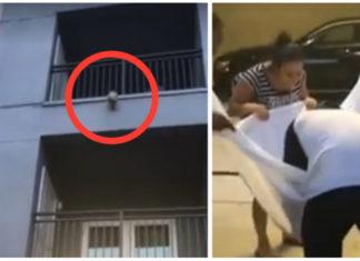 Rescate perro cuelga del balcón