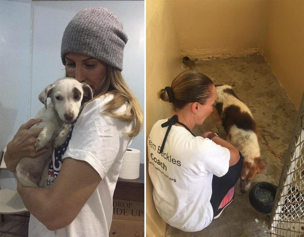 Christina Beckles y cachorros rescatados