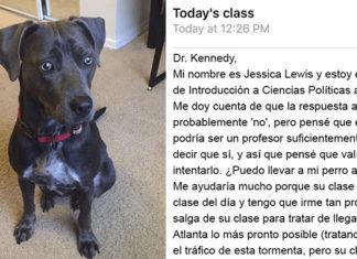 Estudiante pide llevar a su perro a clases antes del huracán