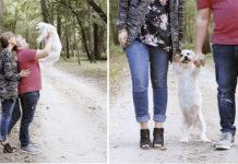 Pareja tiene sesión fotográfica con su perro