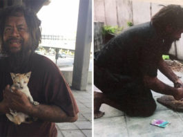 Hombre sin hogar renuncia a comer para alimentar a los gatos sin hogar