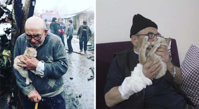 Abuelo abraza a su gatito después de perder su casa en incendio