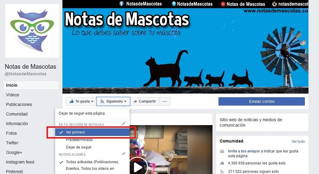 Ver primero Notas de Mascotas Facebook en Computadora