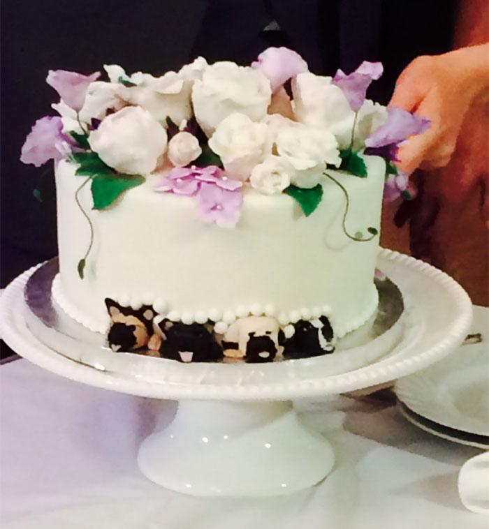 Cuatro perros en pastel de bodas