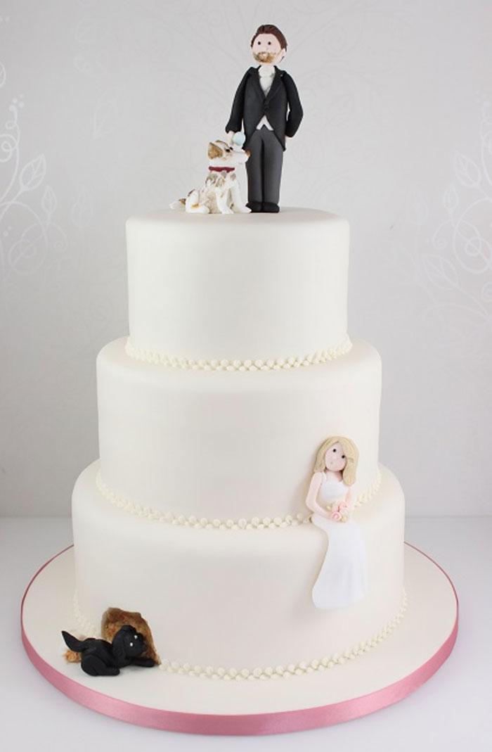 Pastel de boda con perros