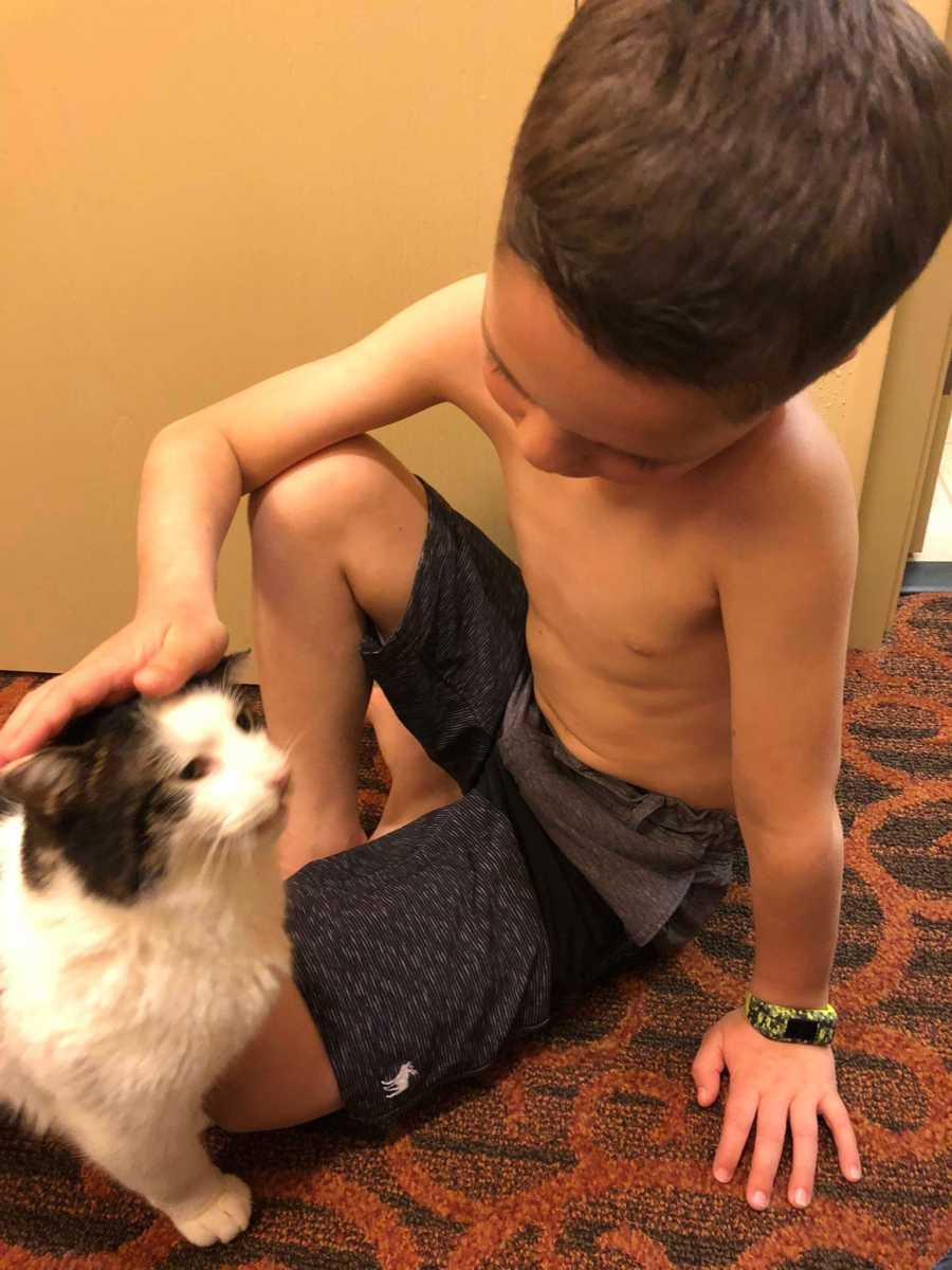 Niño adopta gato