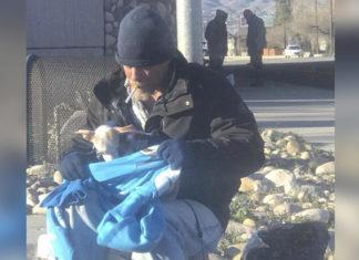 Hombre sin hogar ayuda a perro abandonado