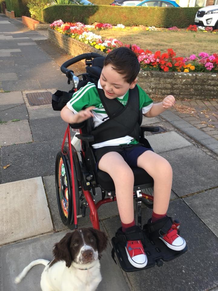 Hugh pasea con su cachorro