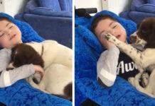 Niño discapacitado y un cachorro se convierten en mejores amigos
