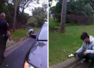 Policías graban a joven mientras salva la vida de una ardilla