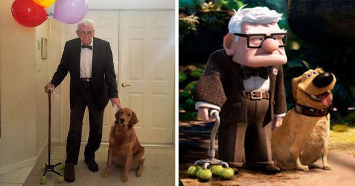 Dulce abuelo y su perro se disfrazan de personas de la película Up