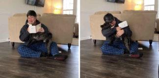 Hombre llora al enterarse que se quedara con su perrito de acogida
