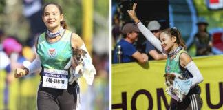 Mujer corre maratón con un cachorro que rescato en el camino
