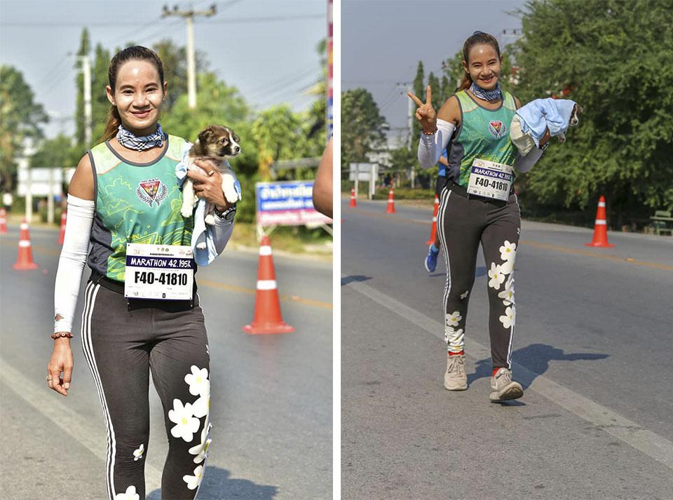Rescata cachorro en maratón