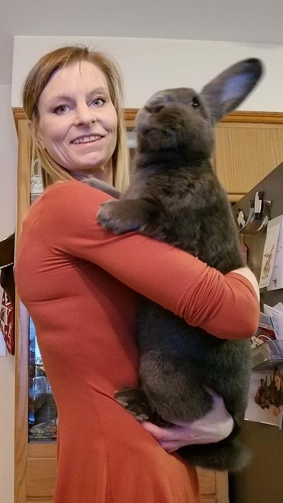 mujer carga a conejo gigante