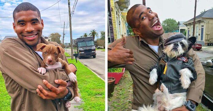 Amigable conductor de UPS posa con adorables perritos