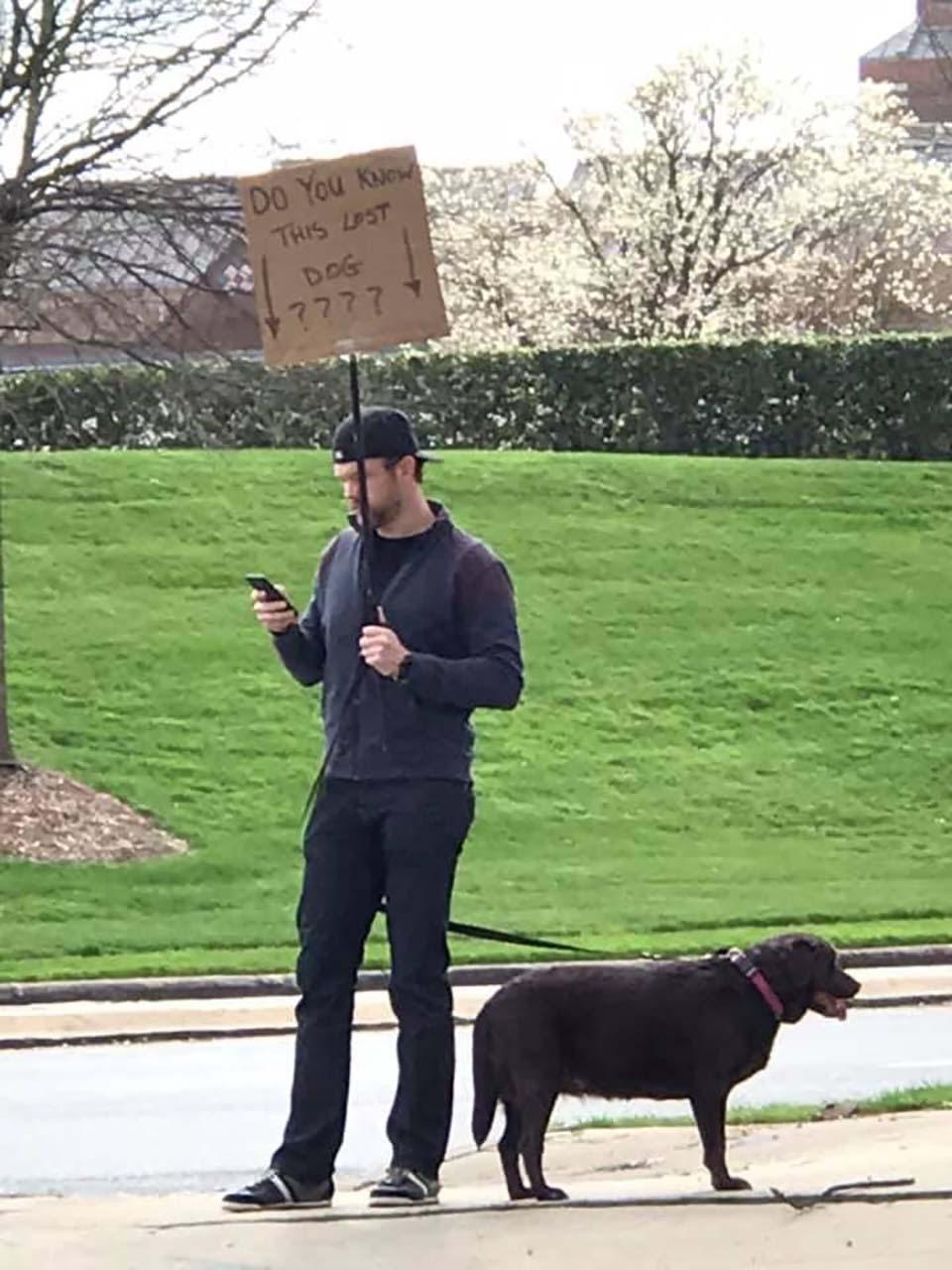 Hombre y cartel en busca de la familia de la perrita encontrada