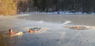 Hombre y su perro salvan a dos perros de lago congelado