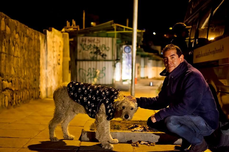 Hombre alimenta a perro en la calle