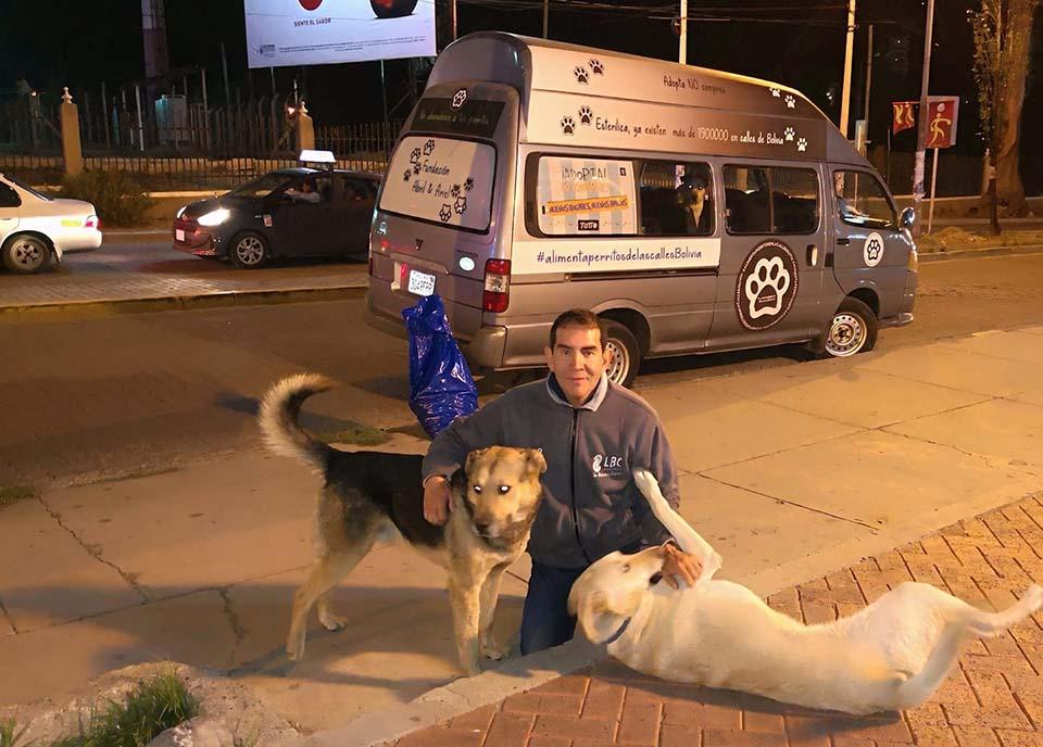 Hombre dedica varias horas al dia para alimentar a muchos perros sin hogar