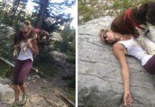 Mujer caminante encontro a perro herido en la montaña y lo llevo sobre sus hombros