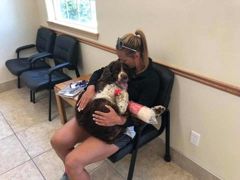Mujer y perrito en sala de espera
