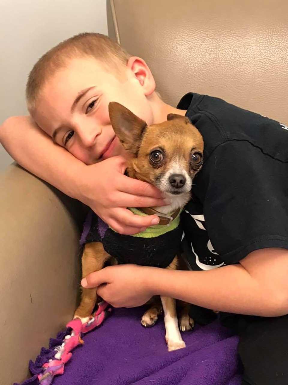 Niño abraza a pequeño perro