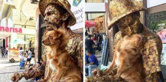 Perrita ayuda a un artista callejero con su acto