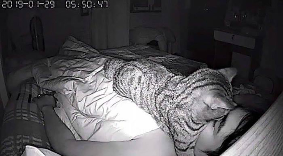 Achi se acerca a la cara de su padre mientras duerme
